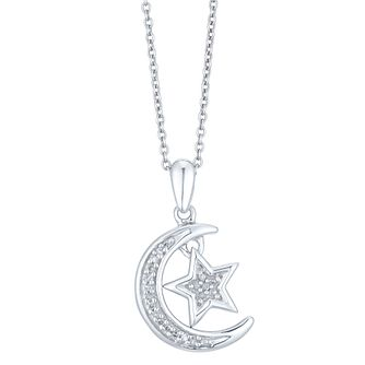 Sterling Silver Diamond Star & Moon Pendant - Product number 3896889