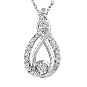 Interwoven Sterling Silver 1/10ct Diamond Pendant - Product number 3897036