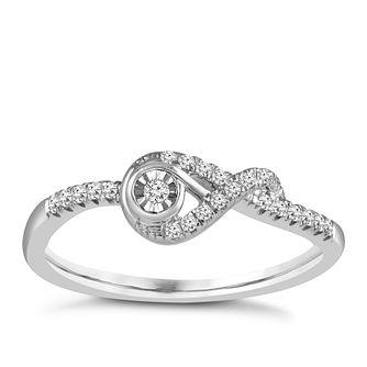 Interwoven Sterling Silver 1/10ct Diamond Ring - Product number 3897443