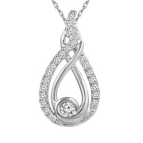 Interwoven Sterling Silver 1/3ct Diamond Pendant - Product number 3900061