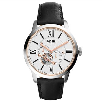 Fossil Men's Round Silver Dial Black Leather Strap Watch - Product number 3903664