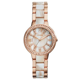 Fossil Ladies' Mother of Pearl Dial Two Tone Bracelet Watch - Product number 3903699