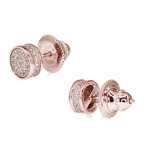 CARAT* Rose Gold Plated Silver Pave Round Stud Earrings - Product number 3904911