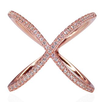 CARAT* Rose Gold-plated Silver 'X' Micro Set Ring Size P - Product number 3905101