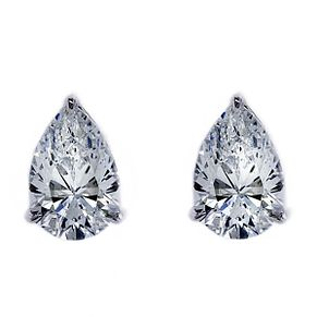 CARAT* LONDON 9ct White Gold Pear Shaped Stud Earrings - Product number 3905144