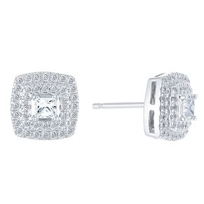 9ct White Gold 1/2ct Diamond Halo Earrings - Product number 3908461