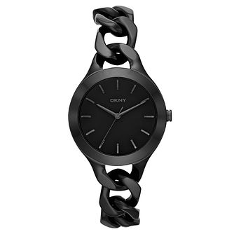 DKNY Ladies' Black Ion-Plated Chain Bracelet Watch - Product number 3909247
