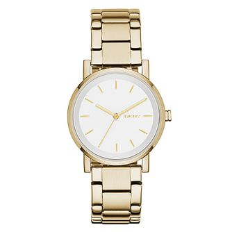 DKNY Ladies' White Dial Gold-Plated Bracelet Watch - Product number 3909255
