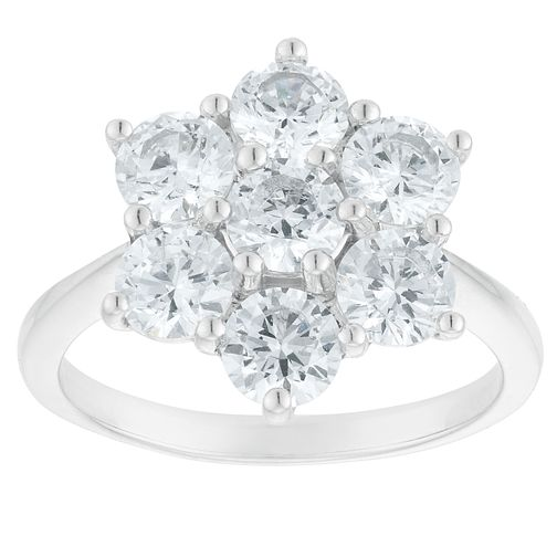 Silver Cubic Zirconia Flower Cluster Ring - Product number 3909824