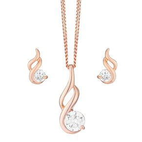 Cubic Zirconia and Rose Gold Plated Drop Jewellery Set - Product number 3912000
