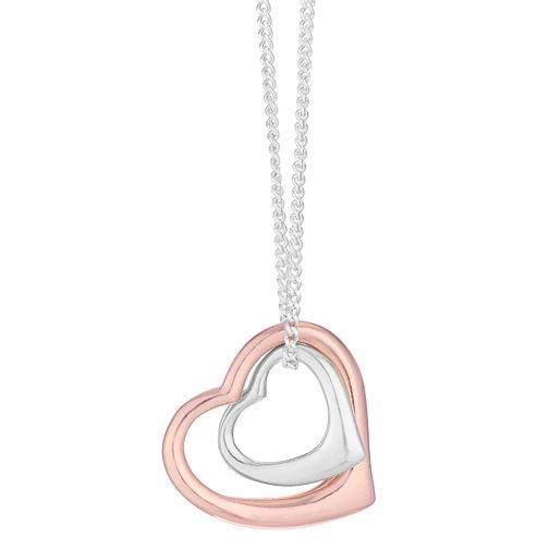 Silver Two Colour Rose Double Heart Pendant - Product number 3912418