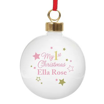 Personalised Gold & Pink Stars My 1st Christmas Bauble - Product number 3914496