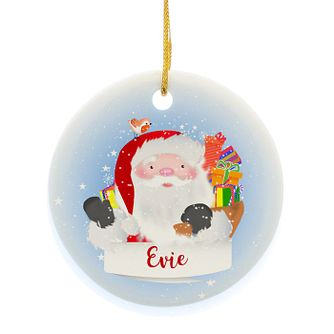 Personalised Santa Claus Round Ceramic Decoration - Product number 3914712