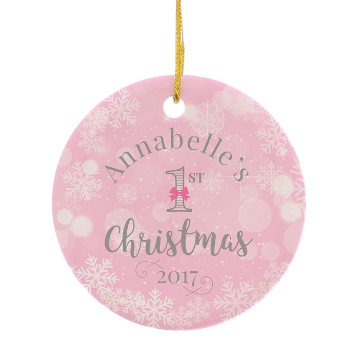 Personalised Pink My 1st Christmas Round Ceramic Decoration - Product number 3914755