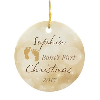 Personalised My 1st Christmas Round Ceramic Decoration - Product number 3914763