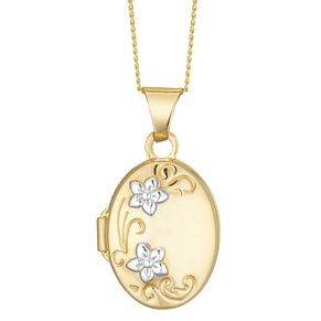 9ct Gold Plated Children's Floral Design Oval Locket - Product number 3916057