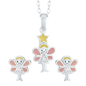 Silver Children's Cubic Zirconia Fairy Earring & Pendant Set - Product number 3916073