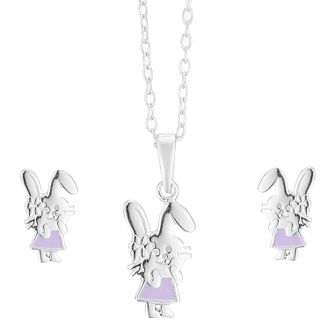 Sterling Silver Children's Bunny Earring & Pendant Set - Product number 3916081
