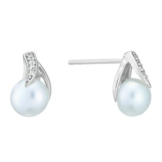 Silver Rhodium Freshwater Pearl & Cubic Zirconia Earrings - Product number 3917207