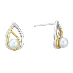 Silver & 9ct Gold Freshwater Pearl Teardrop Stud Earrings - Product number 3917258