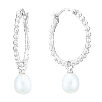Sterling Silver Freshwater Pearl Beaded Hoop Earrings - Product number 3917266