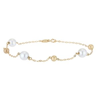 9ct Yellow Gold Freshwater Pearl Beaded Bracelet - Product number 3917886