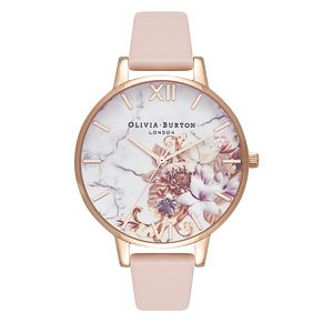 Olivia Burton Marble Florals Ladies Yellow Gold Plated Watch - Product number 3920542