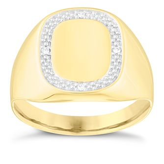 9ct Yellow Gold Men's Diamond Signet Ring - Product number 3920569