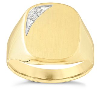 9ct Yellow Gold Men's Diamond Signet Ring - Product number 3920968