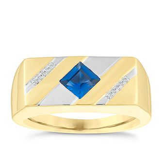 9ct Yellow Gold Sapphire & Diamond Ring - Product number 3922138