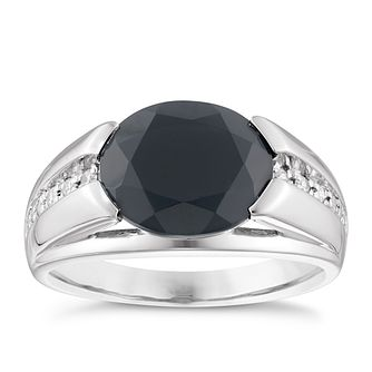 Silver Oval Onyx & Cubic Zirconia Ring - Product number 3924904