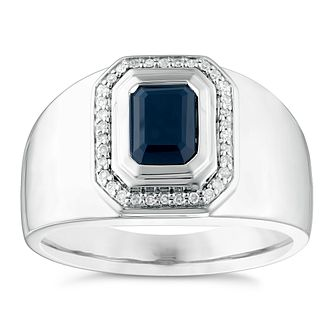 Silver Onyx & 1/10ct Diamond Signet Ring - Product number 3925641
