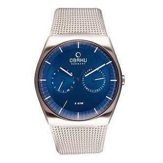 Obaku Men's Blue Dial Stainless Steel Mesh Bracelet Watch - Product number 3925803