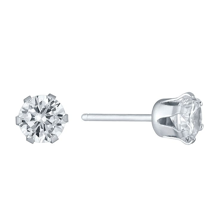 Sterling Silver 5mm Cubic Zirconia Round Stud Earrings - Product number 3926281