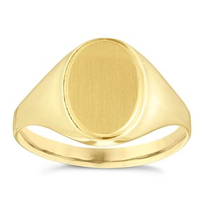 9ct Yellow Gold Men's Plain Signet Ring - Product number 3927083