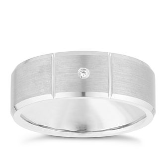 Tungsten Brushed Finish Cubic Zirconia Ring - Product number 3930459