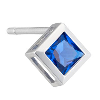 Silver 4mm Blue Square Cubic Zirconia Single Stud Earring - Product number 3931714