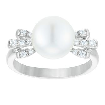 Sterling Silver Freshwater Pearl & Cubic Zirconia Bow Ring - Product number 3932354