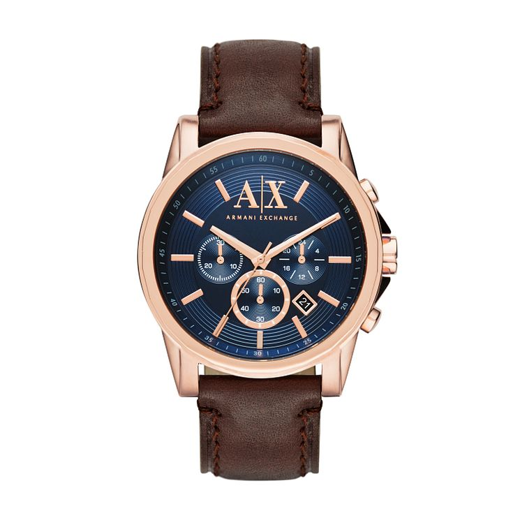 Armani Exchange Men's Blue Dial Brown Leather Strap Watch - Product number 3936783