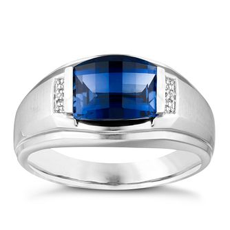 Sterling Silver Men's Created Sapphire Diamond Ring - Product number 3937348