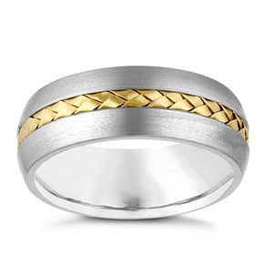 Titanium and Yellow Gold Men's Ring - Product number 3937984