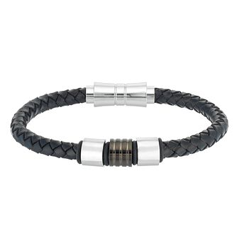 Men's Black Leather Bead Bracelet - Product number 3938298