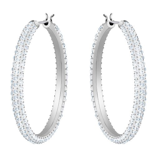 Swarovski Ladies' Rhodium Plated Stone Hoop Earrings - Product number 3941256