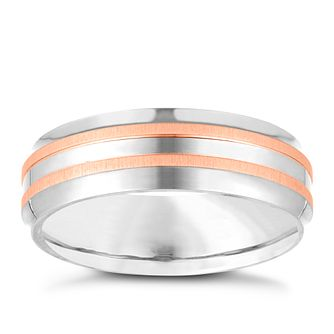Titanium and Rose Gold Plated Men's Ring - Product number 3945316