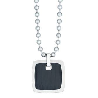 "Stainless Steel 20"" Ball Chain Square Black Plated Pendant - Product number 3945561"