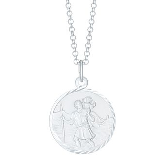 "Silver 20"" Belcher Chain & St Christopher Pendant - Product number 3945596"