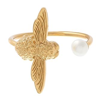Olivia Burton Yellow Gold Plated Bee Pearl Ring - Product number 3945758