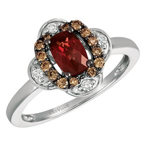 14ct Vanilla Gold 1/5ct Diamond & Pomegranate Garnet Ring - Product number 3949095