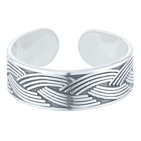 Sterling Silver Plaited Design Toe Ring - Product number 3952746