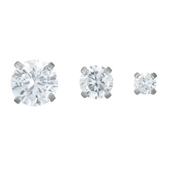 Stainless Steel Cubic Zirconia Set of 3 Helix Studs - Product number 3952843
